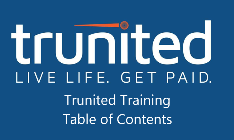 Trunited Training Table of Contents
