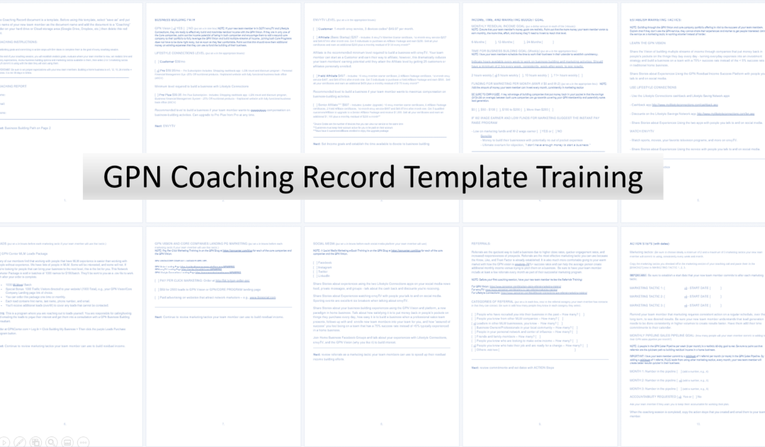 Residual Income Success Plan Coaching Template Training